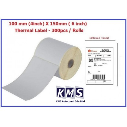 Thermal Barcode Label Sticker 100mm x 150mm (350pcs per roll)