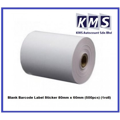 Blank Barcode Label Sticker 80mm x 60mm (500pcs) (1roll)