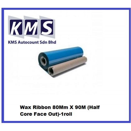 Wax Ribbon 80Mm X 90M (Half Core Face Out)-1roll