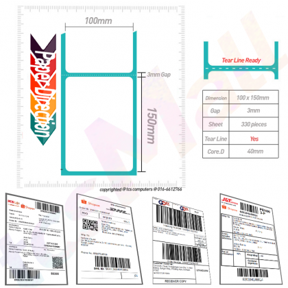 1000pcs A6 DIRECT THERMAL STICKER LABEL 100x150mm STACK FAN FOLD 10x15cm AWB Consignment Note Barcode FAN-FOLD 100 x 150