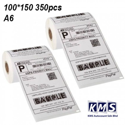 A6 Thermal Paper Label Roll Sticker Shopee Lazada Shipping Air Waybill Consignment Note AWB 100mm x 150mm x 350pcs