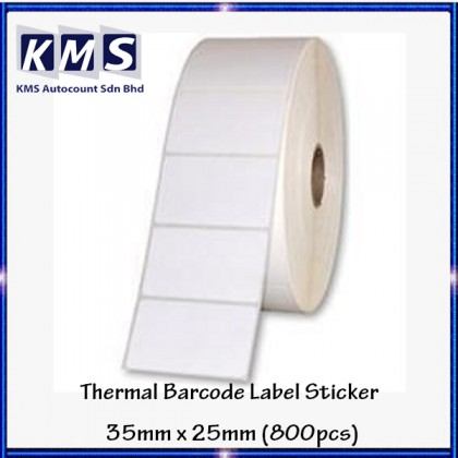 Thermal Barcode Label Sticker 35mm x 25mm ( 800pcs ) (1roll)