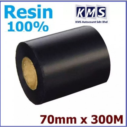 Vileed 100% Resin 70Mm X 300M Barcode Ribbon For Thermal Transfer Printer Full Resin Label Tag Print, 1 Full Inch Core, Face Out