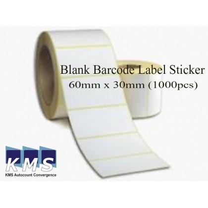 1 Roll 60mm x 30mm Blank Barcode Label Sticker ( 2000 pcs each roll )
